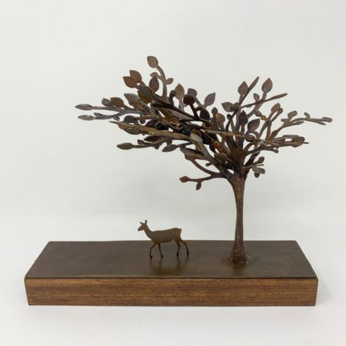 David Mayne Sculptor - 'Under the Tree' Oxidised Steel & Wood Sculpture